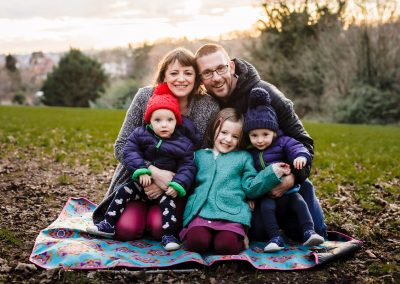 Family portrait of five children with twin boys at Caversham hill