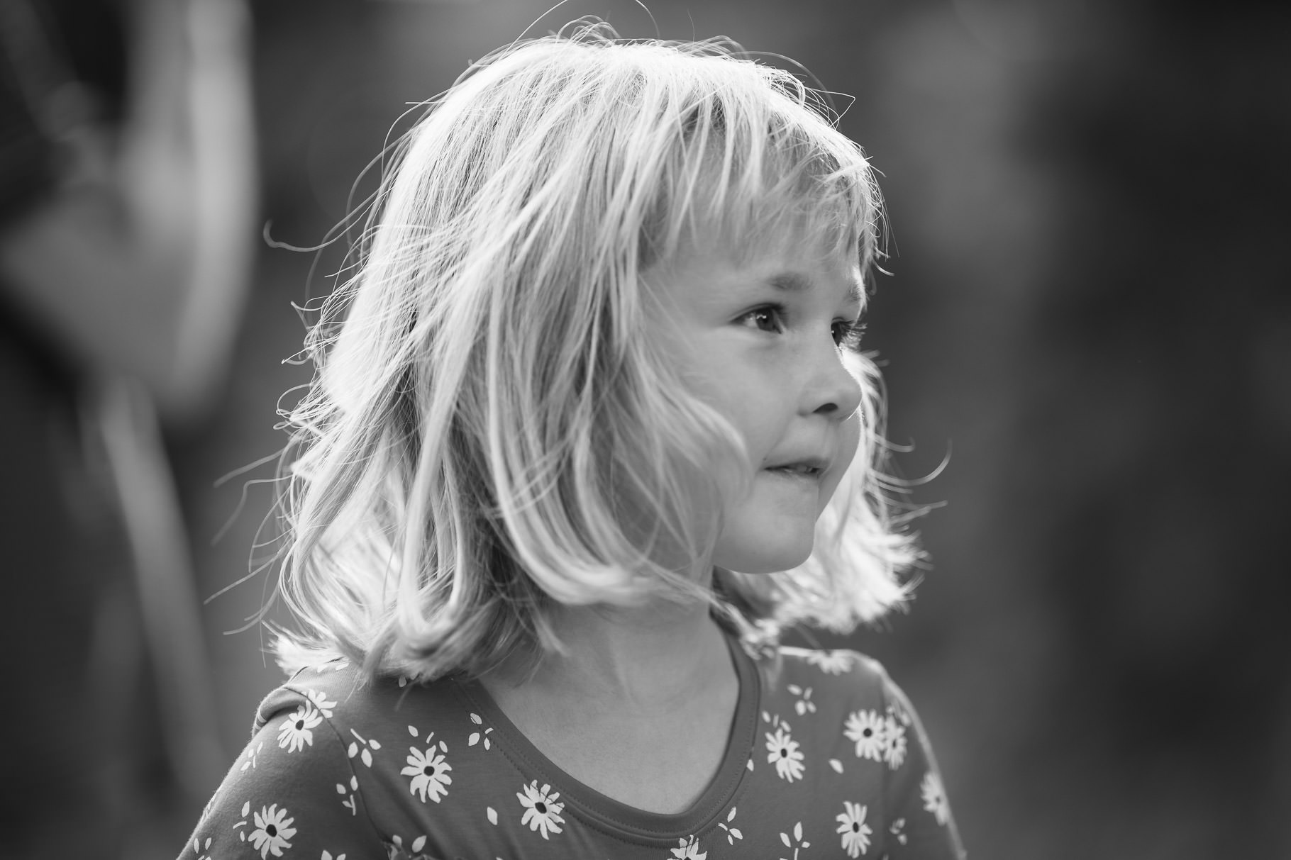 Black and white portrait of girl at Silchester Roman City Walls