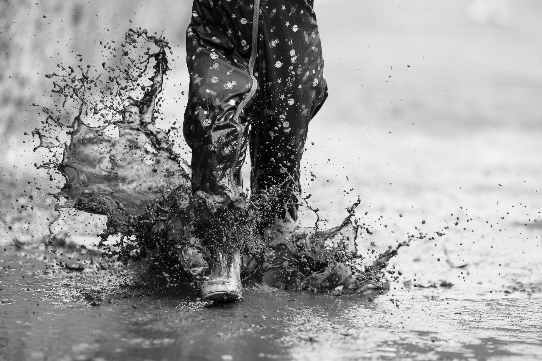 Big puddle splash at the Vyne National Trust in Basingstoke