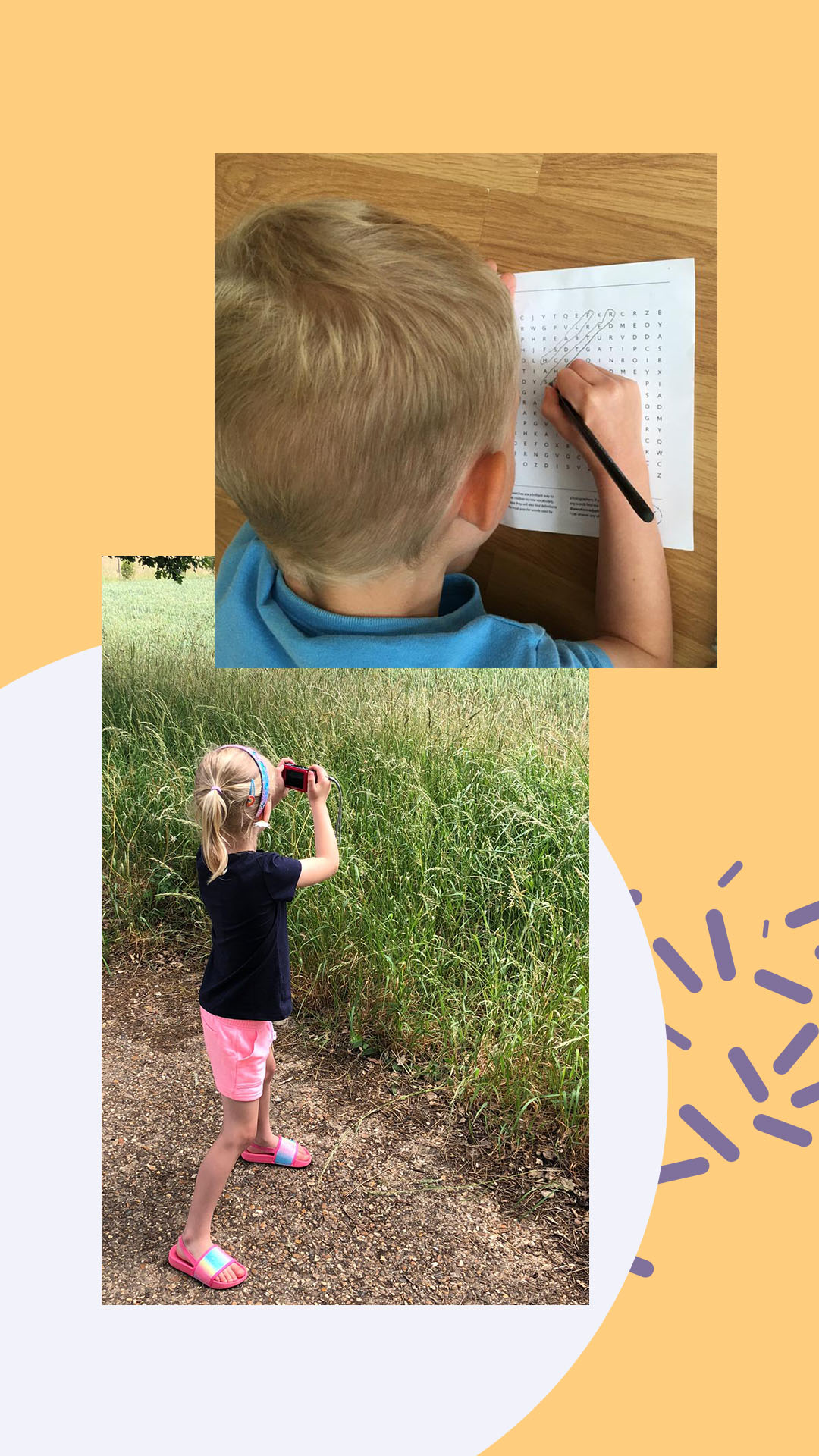 Children completing photography activity book